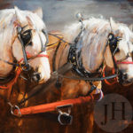 Painting - two white horses with gray background