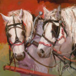 Painting of two while horses at sunset