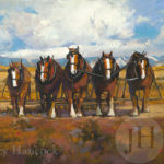 Painting - 5 horses yolked together for plowing