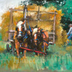 Painting of two work horses pulling a trailer piled high with hay