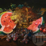 Watermelon and grapes still life