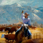 Painting - man riding while holding a lasso to tie up surrounding cattle