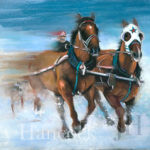 Painting of two horses racing