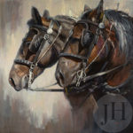 Rustic painting of two horses