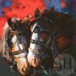 Painting of two brown horses with red and blue background