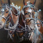 Painting of two horses with silver bridles