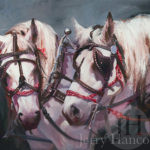 Painting of two white horses with dark bridles