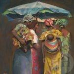 Women in Africa huddled under an umbrella